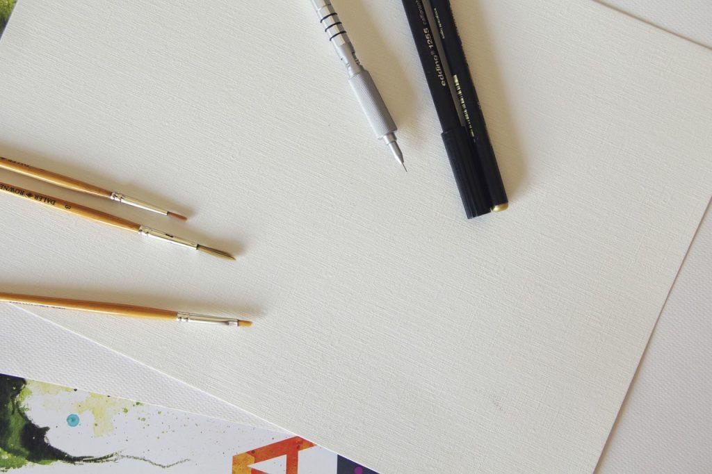 pencil, brush, artist