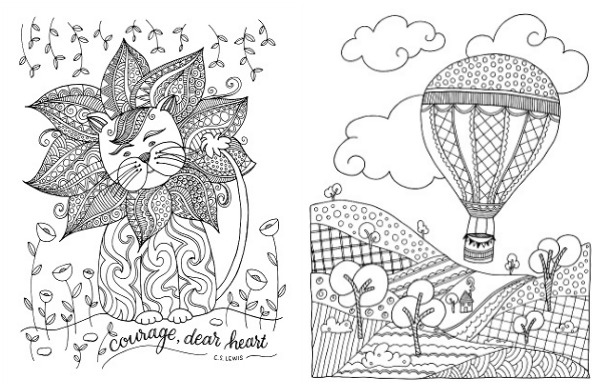 Two of Ann-Margret's drawings in the Inkspirations coloring book